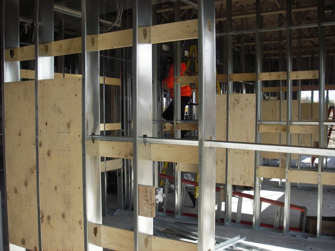 Steel Studs In Basement Plywood Backing Stairwells